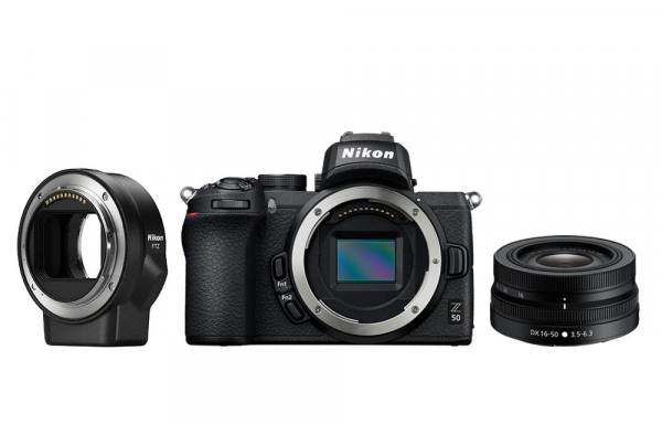 Nikon Z 50 Digital Camera Body With 16-50mm VR Lens And FTZ Mount Adapter in Black